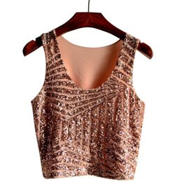 Wholesale Ladies Sequin Tank Tops - FG1509 Sexy Crop Tops New Hot 2015 Summer Style Women Ladies Casual Sleeveless O Neck Fashionable Gauze Sequined Slim Tank Tops Blusas