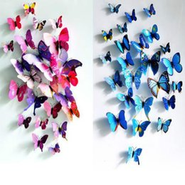 Wholesale Large 3d Butterflies For Decoration - Sticker Art Design Decal Wall Stickers Home Decor Room Decorations 12 pcs 3D Butterfly Sticker