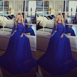 Wholesale transparent neck prom dress - 2017 Arabic Elegant Royal Blue Lace Chiffon Prom Party Dresses Crew Long Transparent Sleeve A Line Floor Length Formal Evening Gowns