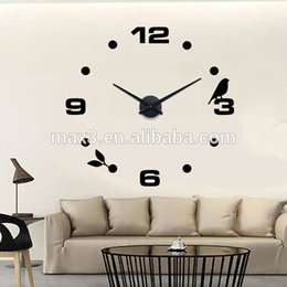 Wholesale Wall Clock Diy Numbers - Creative 3D DIY Wall Clock Mirror Numbers Sticker Home Decor Watches