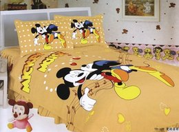 Wholesale Romantic Reversible Bedding - Romantic Mickey Minnie Bed Linen Musical Notes Cotton Fabric Reversible Yellow Bedding Set Single Twin Bedclothes Comforter Set