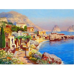 Wholesale House Free Cross Stitch - Diamond painting house scene new needlework diamond cross stitch pasted painting full square drill home decor free shipping