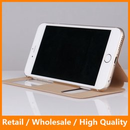 Wholesale Iphone Simple Flip Cases - High-quality Simple Fashion Smart Touch Slim Double Window Pure View Case For iPhone 6 6s 4.7'' Leather Cover Flip Stand