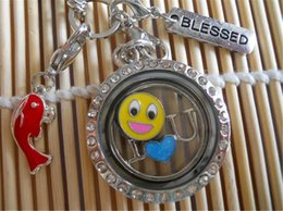 Wholesale Memory Locket Dangles - Living Floating Memory Locket Necklace with Fish Dangle Rolo Smiling Face plate