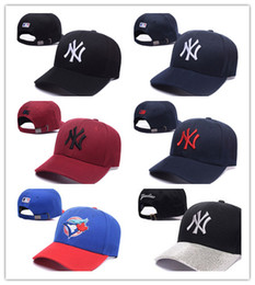 Wholesale Men Sun Visors - Hot Baseball Cap NY Embroidery Letter Sun Hats Adjustable Snapback Hip Hop Dance Hat Summer Outdoor Men Women White Black Navy Blue Visor