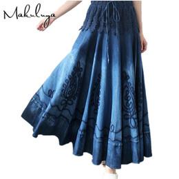 Wholesale Bohemian Denim Skirts - Makuluya summer autumn women's lace stitching Vintage Ethnic Embroidery Bohemian Spliced blue Denim long pleated Skirts female 0