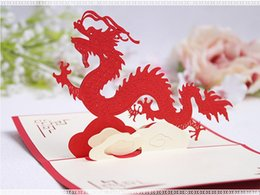 Wholesale Diy Greeting Cards - 10*15cm 3D Chinese Dragon Best Wishes Happy Greeting Cards Christmas Card New Year Greeting Card DIY Gift
