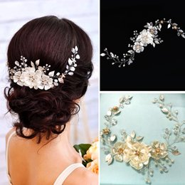 Wholesale gold leaves hair accessories - Handmade Gold Silver Leaves Pearl Flower Headband Crystal Tiara for Bride Bridesmaid Rhinestone Floral Head Chain Wedding Hair Accessories