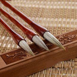 Wholesale Wholesale Mink Flowers - Wholesale-1 Piece Chinese Calligraphy Writing Pen Brush Flower Mink Hair Red Sandal Wood Handle for Artist School Larger Regular Script