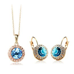 Wholesale Earring Korean Mix - Korean Necklace And Earrings Set High grade semi circle Crystal Earrings Necklace Set Moon River Holiday Gift Jewerly Sets 1075