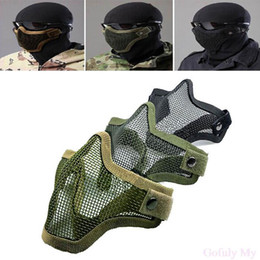 La mitad inferior de la cara de malla de red de acero de metal táctico de protección máscara de Airsoft máscara de movimiento envío gratis TY941 desde fabricantes