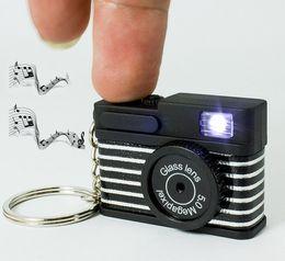 Wholesale Fun Keychains - 90pcs Mini Fun interesting Camera Flash Light LED Key Chain Shutter Sound keychain Promotion gift Wholesale DHL Free KC179