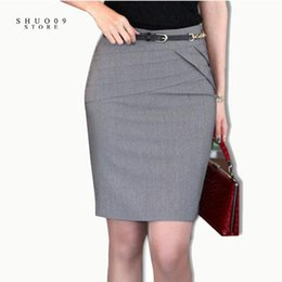 Wholesale Plus Size Yellow Pencil Skirt - Wholesale- 2017 Women Skirts Autumn Winter Office Formal Pencil Skirts Casual Sexy Slim High Waist Knee-Length Midi Skirt Plus Size 4XL