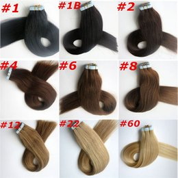 Wholesale Dark Brown Brazilian Extensions - 100g 40pcs 50pcs Glue Skin Weft Tape in Hair Extensions 18 20 22 24inch brazilian indian human hair Extensions