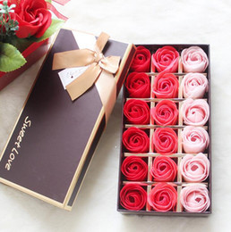 Wholesale Wholesale Favor Supplies - 18PCS Rose Soaps Flower Packed Wedding Supplies Gifts Event Party Goods Favor Toilet soap Scented bathroom accessories SR005