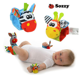 Wholesale infant socks rattles - New arrival sozzy Wrist rattle & foot finder Baby toy Infant foot Sock 40 pcs(20wrist rattles + 20foot socks) lovely baby baby gift B11
