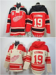 Chandail à capuchon de hockey en Ligne-2016 Nouveau, 2014 nouveau style d'arrivée! Réduction Detroit Red wings Hoody # 19 Steve Yzerman polaire à capuche Jersey Old Time Hockey Hoodies Sweat