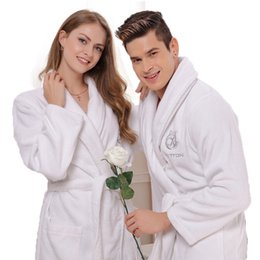 Wholesale Thick Acrylic Blankets - Wholesale- Cotton bathrobe women men sleepwear nightgown mens blanket towel fleece robe thick lovers long soft plus size XL spring summer