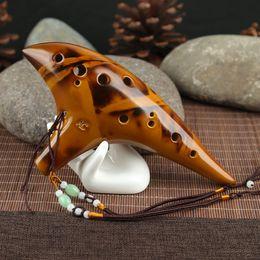 2019 professionelle okarina 2 Farbe 12 Loch Keramik Ocarina Alto A C Flöte Professionelle Ocarina Geräucherte Design Musik Kunsthandwerk günstig professionelle okarina