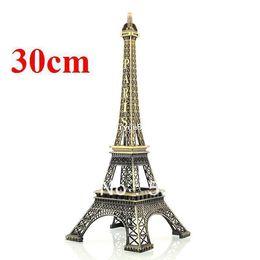Wholesale Eiffel Tower Metal Model - New 30cm Bronze Paris Eiffel Tower Figurine Metal craft Sculpture Imitation Model Freeshipping