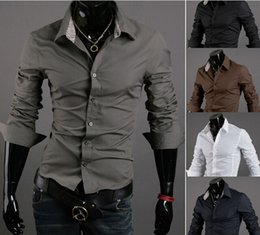Wholesale Korean Clothing Imports - free shipping New Arrival Top Quality Brand Mens Imported Clothing mens Dress Shirts Men Korean Slim Long sleeve Shirts