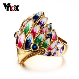 Wholesale Owl Enamel Ring - Hot Fashion Party Owl Women Ring Gold Plated Stainless Steel Women Jewelry Colourful Enamel Material