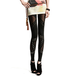 Wholesale Ladies Gauze Pants - Sexy Fashion Women Lady Stitching Stretchy Punk Gauze Rivet Black Leggings Pants
