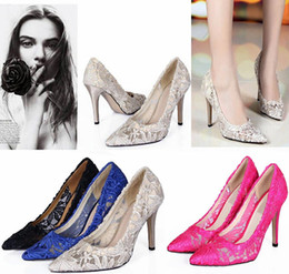 Wholesale Dress Cutouts - 2015 Women Cutout Satin Fabric 6 Sizes High Heel Sexy Lace Wedding Shoes Shallow Mouth Pointed Toe Genuine Leather Bride Pumps Dress Shoes