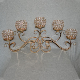 Wholesale crystal ball candle - Top Rated 5 Head Golden Metal Crystal Candle Holder 5 balls candelabras Wedding centerpiece 5-arms chandelier