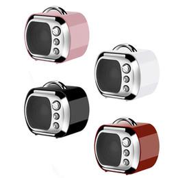 Wholesale Retro Phone Speaker - New Retro TV Mini Bluetooth Speaker Portable SoundBox Micro SD   TF FM Radio Music Stereo Loudspeaker For Laptop Mobile Phone MP3