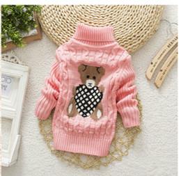 Wholesale Cartoon Sweater Kids - Turtleneck Warm Outerwear Boys Sweater Cartoon Baby Girls Sweater Jumper Autumn Winter Kids Knitted Pullovers Children Clothes