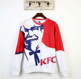 Wholesale chicken 3d - 2014 new fashion men women's 3D sweatshirt print KFC chicken funny pullover hoodies long sleeve casual tops clothing