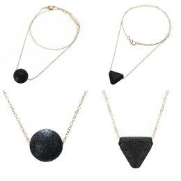 Wholesale Black Beads Choker - Punk Triangle Round Volcano Lava Stone Chokers Necklaces Shellhard Black Beads Necklaces & Pendants Unisex Fashion Jewelry Female D226S