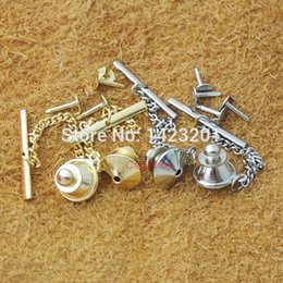 Wholesale Copper Tie - Wholesale-50 pcs   Lot Copper Locking Tie Tac Tack Pin Vintage Guard Clutch Backs Chain Nickel Gold choice F104
