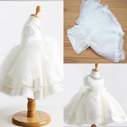 Wholesale Elegant Baby Dress Organza - Elegant Sweet Baby White Bow Bead Flower Girl Dress For Wedding Princess Kids Ball Gown Baby Birthday Party Dress 2015 Fashionable HC