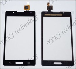 Wholesale Lg P713 - Wholesale-Top quality for LG Optimus L7 II 2 P710 P713 touch screen digitizer glass with lens single card black&white free shipping 1PCS