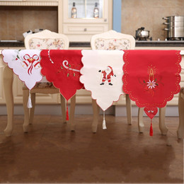 Wholesale Red Christmas Table Runner - Elegant Satin Table Runner 40*170cm Christmas Santa Claus Tablecloth Embroidered Hollowed Out Design Tablecloths Top Quality 17 8hb B