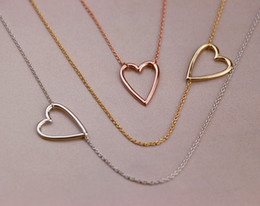 Wholesale Tiny Love Heart Pendant - 5PCS Gold Silver Tiny Line Hollow Out Open Heart Necklaces Simple Wire Wrapped Love Heart Necklaces for Lovers Couples
