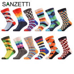 Wholesale 12 Pairs Christmas Socks - Wholesale- SANZETTI 12 pairs lot Men's Colorful Pattern Combed Cotton Socks Casual Dress Crew Socks Happy Socks US 7.5-12 Christmas Gift