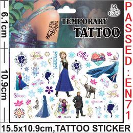 Wholesale Popular Tattoos - 2014 popular cartoon movie 15.5x10.9cm Frozen Elsa Anna mix design Temporary Tattoos stickers fashion for kid children's gift