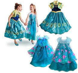 Wholesale American Girl Vestidos - summer girls dress ANNA ELSA Princess dress kid birthday party dresses Cosplay Costume Vestidos for children 3-10 years