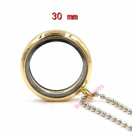 Wholesale Wholesale 14 K Gold - (free chain)30mm round magnetic floating locket,14 K plated memory locket with 70mm free ball chain floating locket jewelry