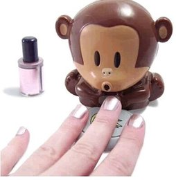 Wholesale Monkey Nail Polish Blower - 200pcs lot New Cute Monkey Hand Nail Art Tips Polish Dryer Blower Manicure #2194 , free ship