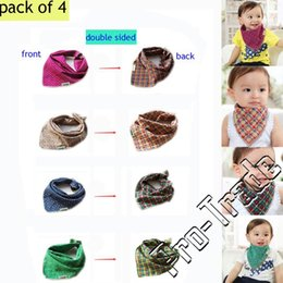 Wholesale Double Dribble - Double Sided Baby Infants Lunch Bibs Bandana Saliva Towel Kids Dribble Drool Catcher Children Triangle Head Scarf Adjustable Plaid A435