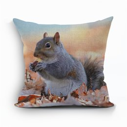 Wholesale Decals For Case - Wholesale- Pillow Case Animal cushion squirrel Cotton Linen almofada For Living Room Square fox throw pillows Home Decal 45X45CM quality f