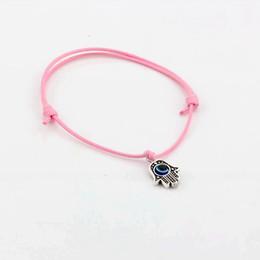 Wholesale Evil Eye Hand Charm - Hot ! 50pcs Hamsa Hand String Evil Eye Lucky Pink color wax Cord Spiritual Bracelets Success Protection