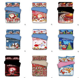 Wholesale King Size Santa Claus Bedding - Christmas Bedding Sets Cartoon Santa Claus Reindeer Duvet Covers for King Size Bedding Duvet Cover Pillow Cover Pillowcase Christmas Gifts