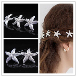 Wholesale Starfish Hair Comb Wedding - starfish Bridal Hair Accessories With Pearl, Beads Bride U Pins Comb Wedding Dresses Accessory Charming Headpieces