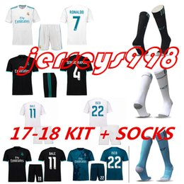 Wholesale Cotton Football Socks - KIT+SOCKS 17-18 Real madrid soccer Jerseys kits RONALDO SERGIO RAMOS white Black BALE ISCO MODRIC Benzema Marcelo Asensio football shirts