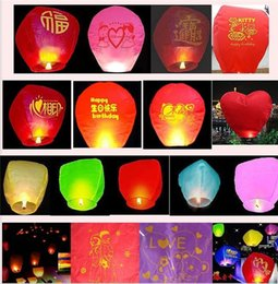 Wholesale Candle Lights Paper - candle Sky Lanterns Paper Fire Candle Wish Wedding Flying Party Lamp Multi Color Paper Lanterns KongMing Lucky Light Wedding Assorted Colors